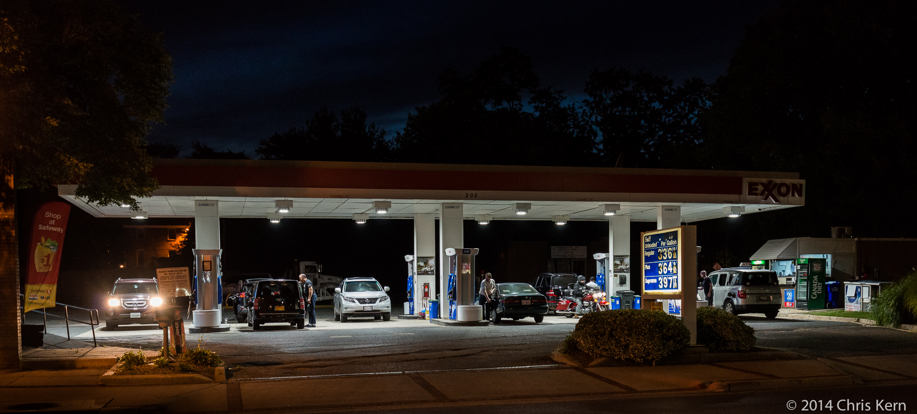Exxon Station at Night, Rockville, Maryland, USA (2014)
