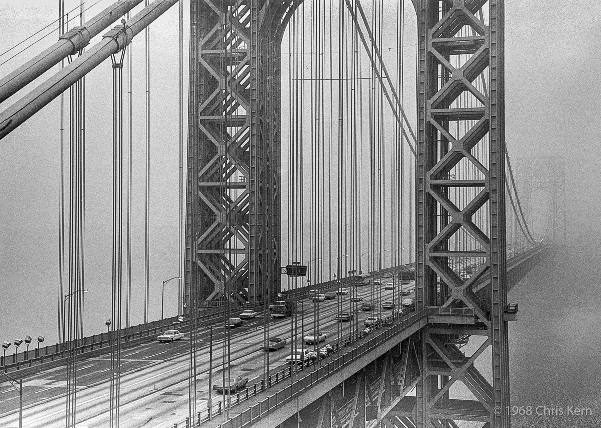 George Washington Bridge in Fog, Fort Lee, New Jersey, USA (1968)
