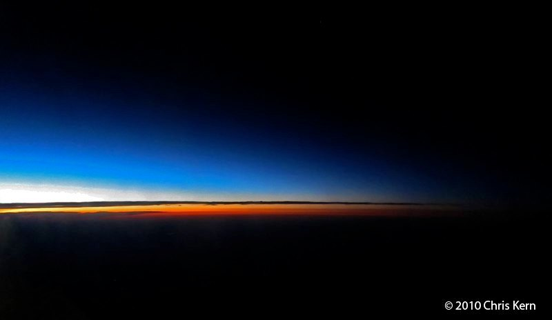 Last Light at 35,000 Feet, United Airlines SFO-IAD Flight, USA (2010)
