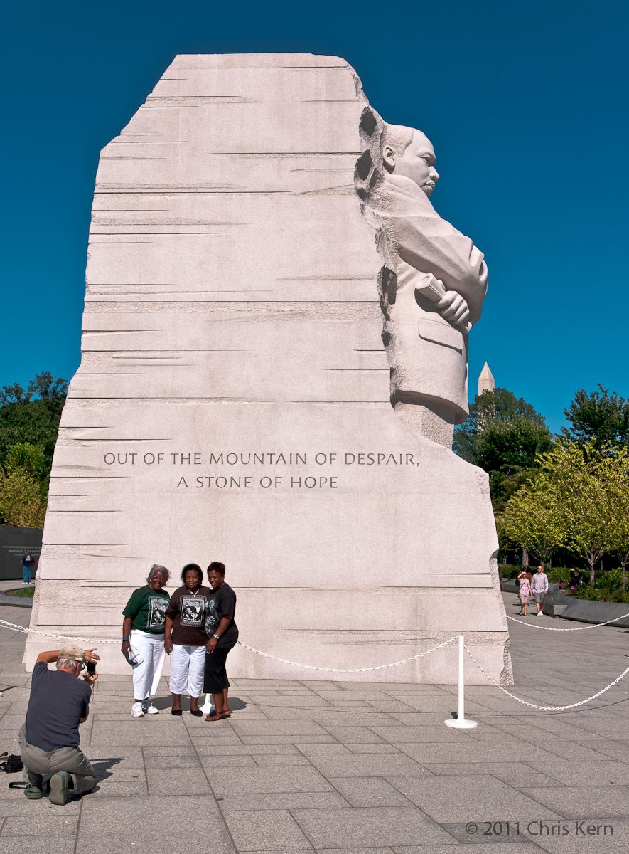 Tourists at Martin Luther King Memorial, National Mall, Washington, District of Columbia, USA (2011)
